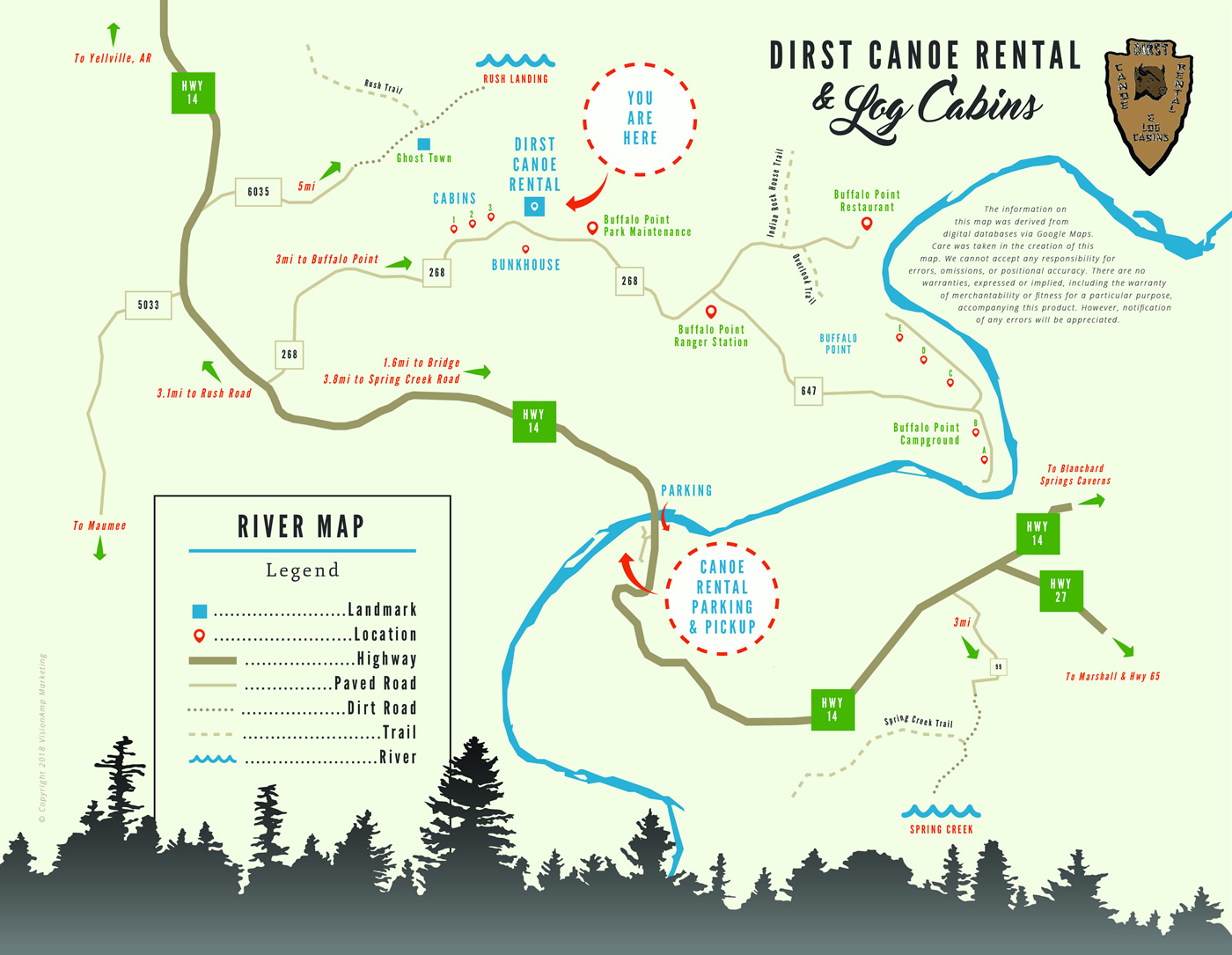 River Map Dirst Canoe Rental Log Cabins Buffalo National River