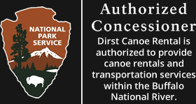 National Park Service - Authorized Concessioner - Dirst Canoe Rental is authorized to provide canoe rentals and transportation services within the Buffalo National River.